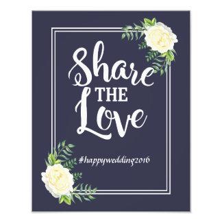 Impression Photo Hashtag social de médias de rose d'ivoire de bleu