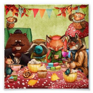 Impression Photo Heure du thé dans la forêt avec des amis de région