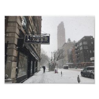 Impression Photo Hiver de tempête de neige du magasin de vins et de