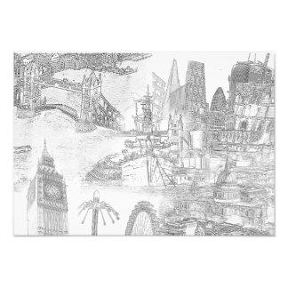 Impression Photo Icônes de Londres - copie art numérique de dessin