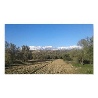 Impression Photo La neige a couvert l'affiche de montagnes d'IDA