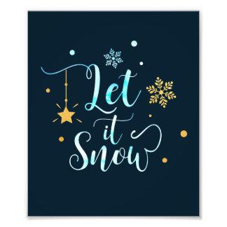 Impression Photo Laissez lui neiger. Flocons de neige d'hiver. Art