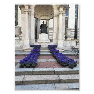 Impression Photo Le ressort de statue de parc de Bryant fleurit New