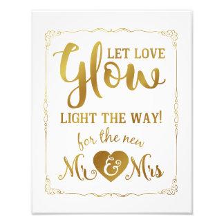 Impression Photo le signe de mariage, lueur colle, épousant, noir