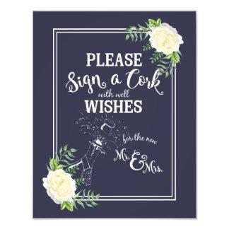 Impression Photo le signe de mariage, signent svp un liège, floral