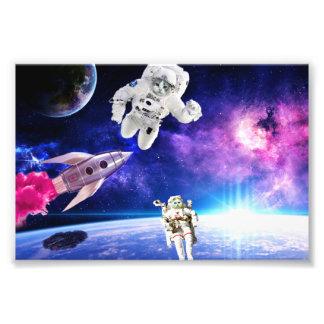 Impression Photo Les chats d'astronaute dans l'espace ont poursuivi