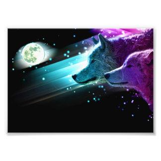 Impression Photo Loup, lune de loups, clair de lune. Animal