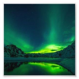 Impression Photo Lumières du nord vertes de l'Islande