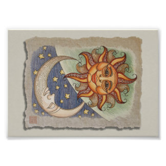 Impression Photo Lune et étoiles de Sun