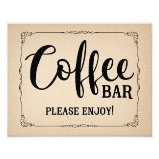 Impression Photo Mariage vintage de café de style ou signe de
