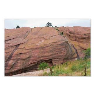 Impression Photo Monolithe de grès rouge aux roches rouges