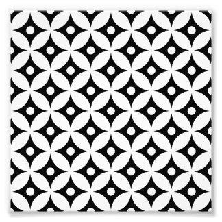 Impression Photo Motif de pois noir et blanc moderne de cercle