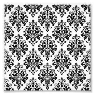 Impression Photo Motif noir et blanc élégant de damassé