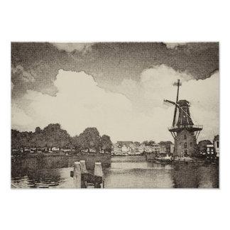 Impression Photo Moulin à vent noir, Haarlem, Pays-Bas