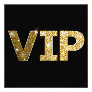 Impression Photo Noir et parties scintillantes VIP d'or