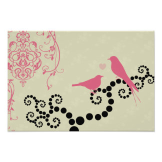 Impression Photo Oiseaux, points, coeur, branches, remous - rose