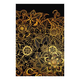 Impression Photo Or floral G523 de griffonnage d'impression de