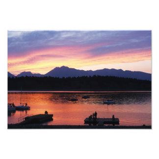 Impression Photo Par le lac au coucher du soleil