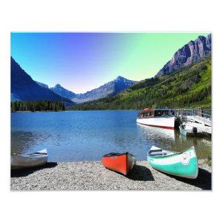Impression Photo Parc national Montana de glacier de lac deux