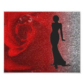 Impression Photo Parties scintillantes de rose rouge et silhouette