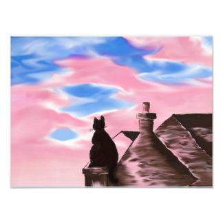 Impression Photo Peinture numérique d'impression d'art - chat sur