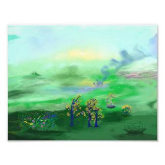 Impression Photo Peinture verte et bleue de paysage féerique