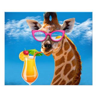 Impression Photo Plage de girafe - girafe drôle