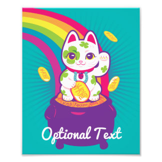 Impression Photo Pot de bonne chance de Maneki Neko de chat d'or