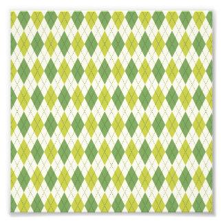 Impression Photo Rétro motif à motifs de losanges géométrique vert