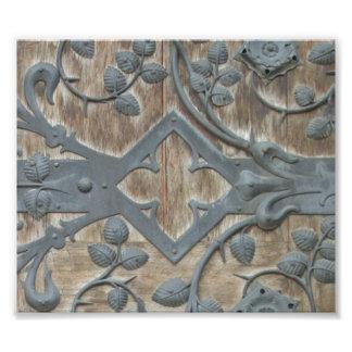 Impression Photo Serrure médiévale de fer sur la porte en bois