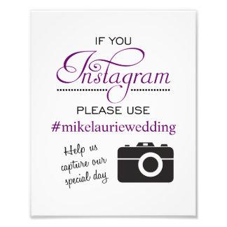 Impression Photo Signe d'affiche de mariage d'Instagram - pourpre