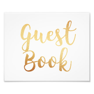 Impression Photo Signe de livre d'invité d'or. Affiche de mariage.