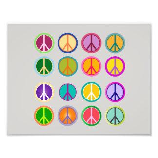Impression Photo Signe de paix Popart hippie, soixante-dixième,