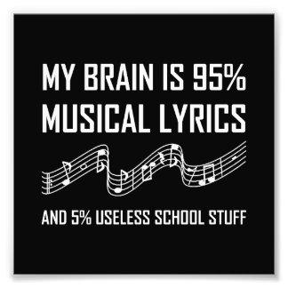 Impression Photo Textes musicaux de cerveau drôles