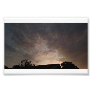 Impression Photo Toit de coucher du soleil