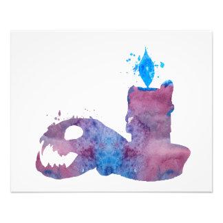 Impression Photo Un crâne de chat et une bougie