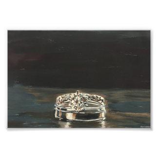 Impression Photo Un d'une copie de monotype d'anneaux de mariage de