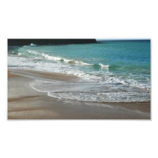 Impression Photo Vagues enroulant sur l'océan de bleu de turquoise