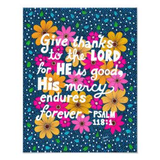 Impression Photo Vers floral coloré mignon de bible de thanksgiving