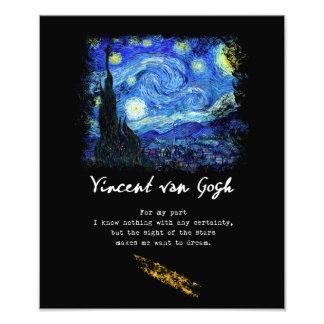 Impression Photo Vincent van Gogh. Art de poème de peinture de nuit
