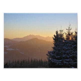Impression Photo Vue de coucher du soleil des montagnes de Tatras