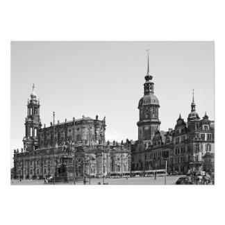 Impression Photo Vue du carré de Teatrplatz à Dresde