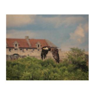 Impression Sur Bois 10x8 Eagle chauve passant le fort Ticonderoga