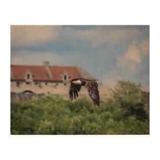 Impression Sur Bois 14x11 Eagle chauve passant le fort Ticonderoga