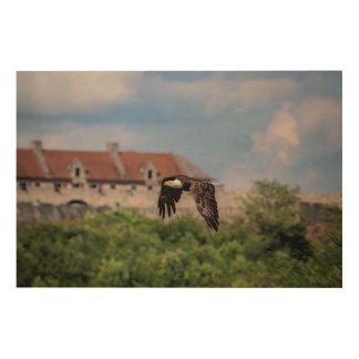 Impression Sur Bois 36x14 Eagle chauve passant le fort Ticonderoga