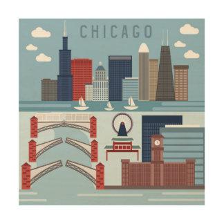 Impression Sur Bois Affiche de Chicago l'Illinois