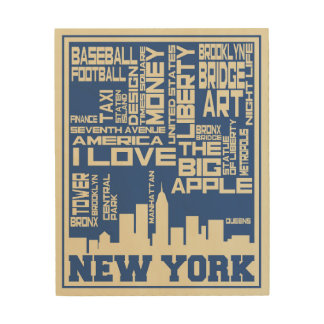 Impression Sur Bois Affiche de typographie de New York City