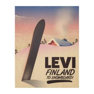 Impression Sur Bois Affiche de voyage de snowboarding de Lévi Finlande