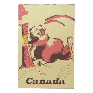 Impression Sur Bois Affiche vintage de voyage de castor du Canada