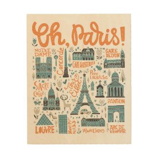Impression Sur Bois Ah, Paris ! typographie de ville de |